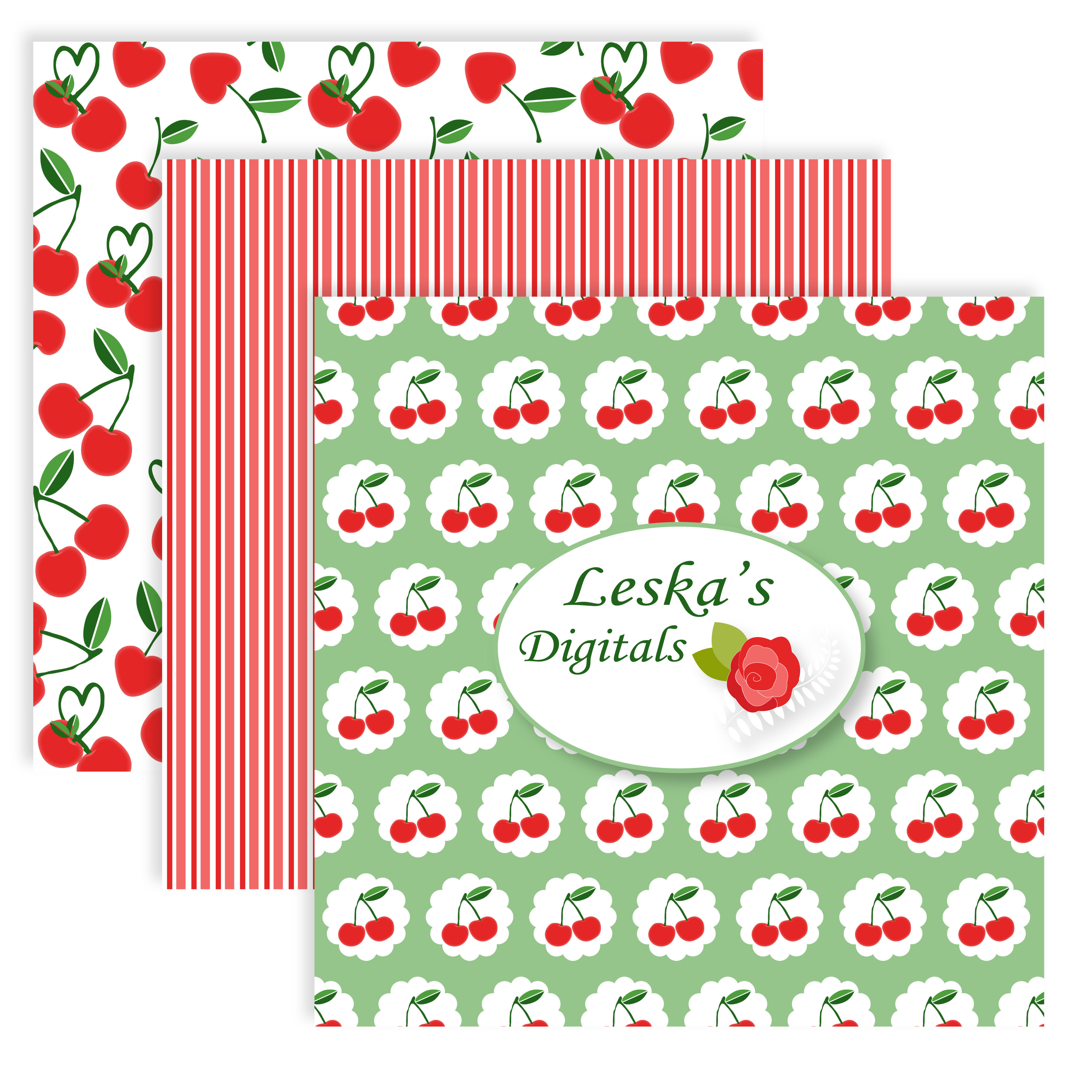 Cherry Digital Scrapbook Paper Pack example image 6