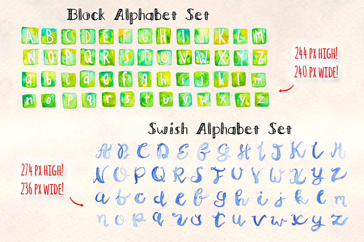 3 Watercolor Alphabet Brush Sets example image 4