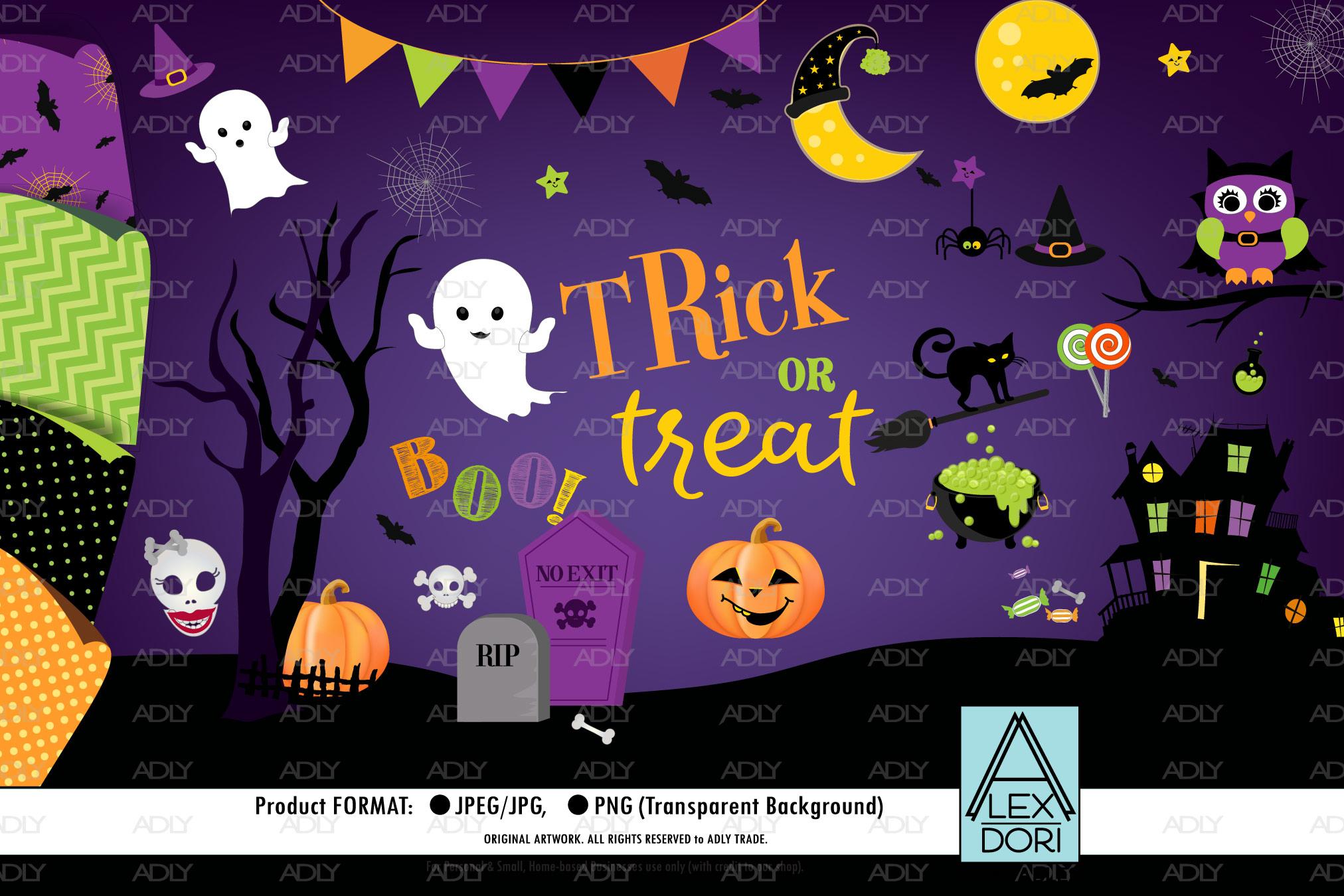 Halloween ClipArt Set, Halloween background Set-3 example image 2