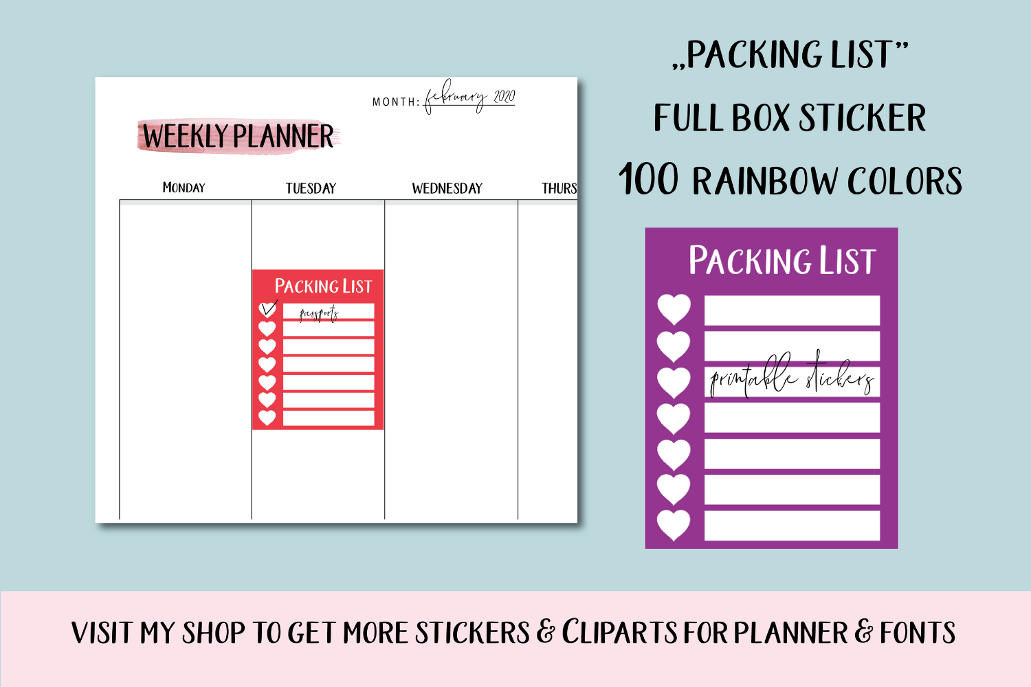100 Full Box Weekly Habit Tracker Sidebar printable, Packing example image 1