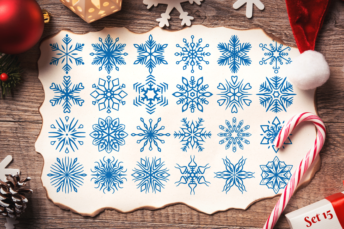 500 Snowflake Vector Ornaments example image 26