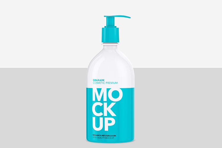 Shampoo Bottle with Lotion Pump 500ml - Mockup example image 2