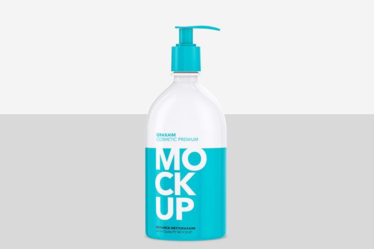 Mockup - Shampoo Bottle with Lotion Pump 500ml example image 2