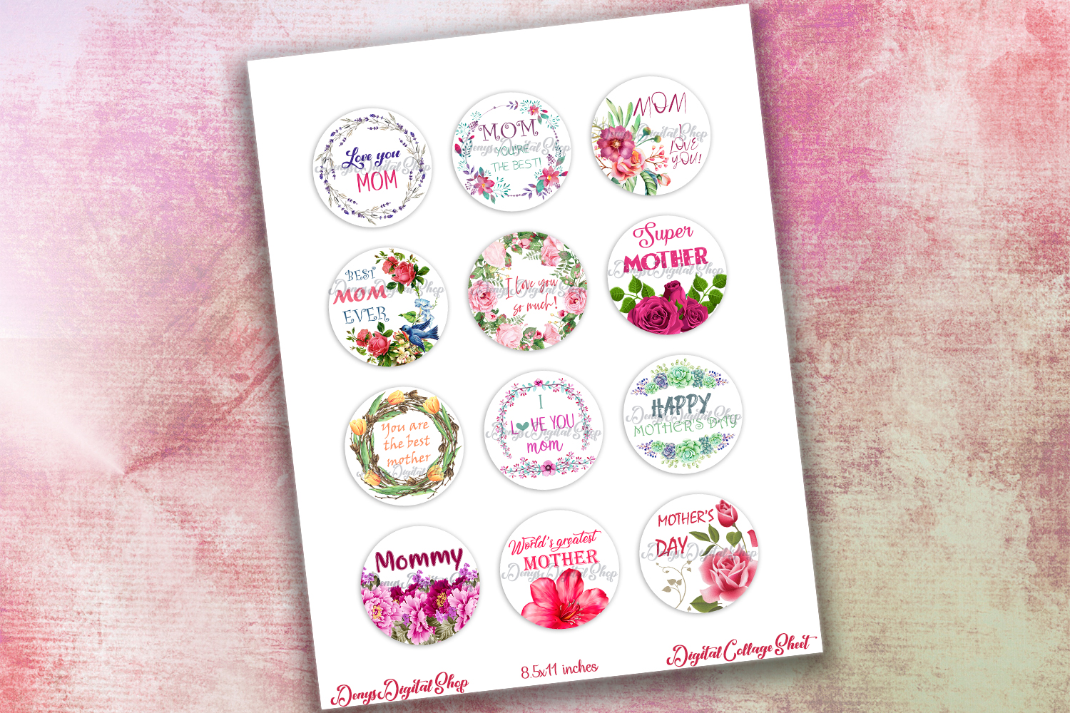 Mother's Day Digital Collage Sheet,Quotes Printable,Buttons example image 2