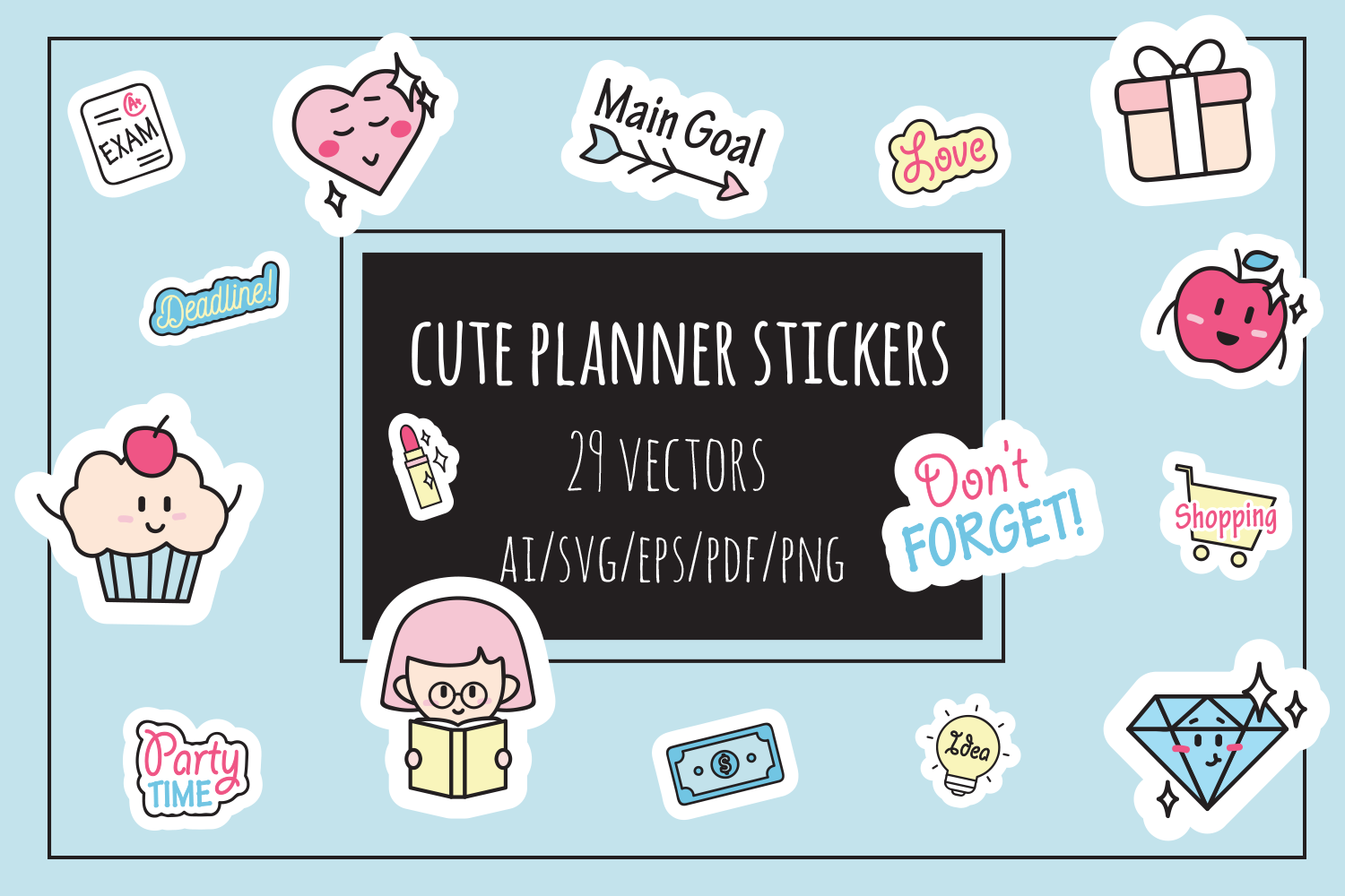 Cute Planner Stickers example image 1