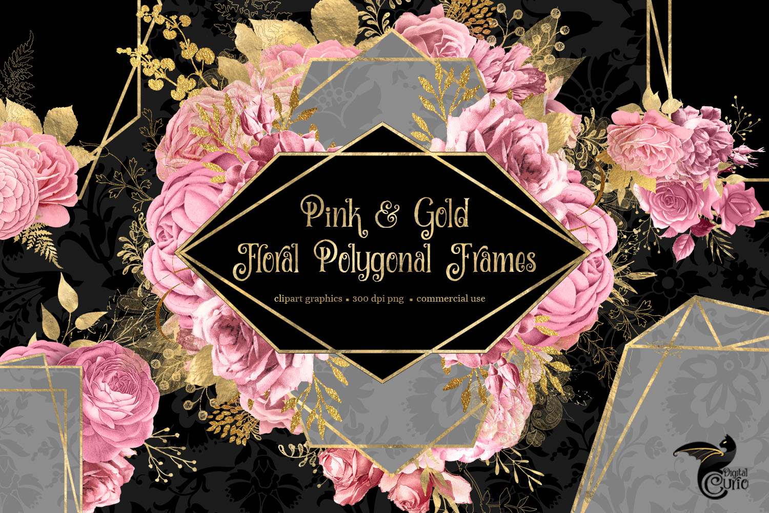 Pink and Gold Floral Polygonal Frames Clipart example image 2