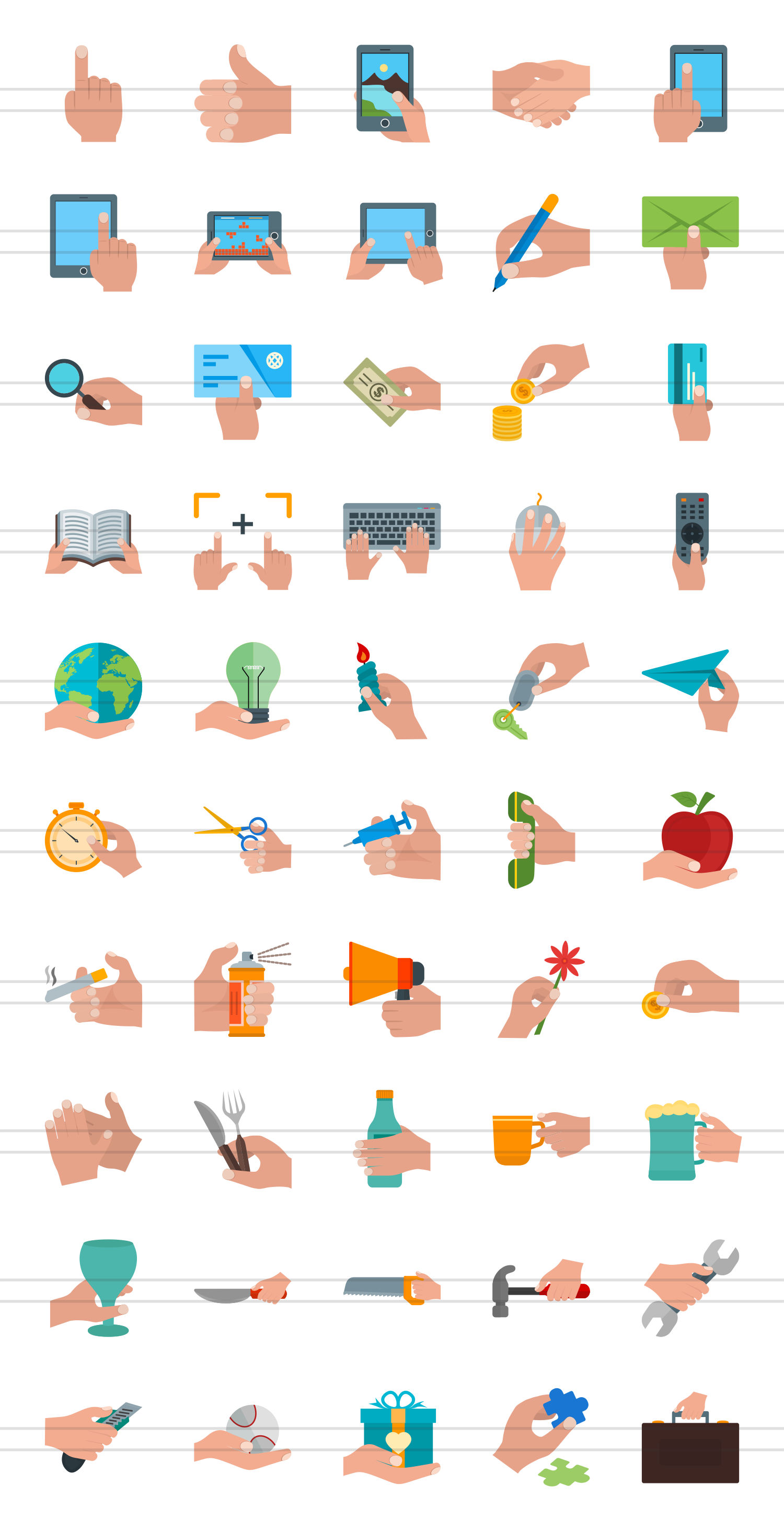 50 Hand Actions Flat Multicolor Icons example image 2