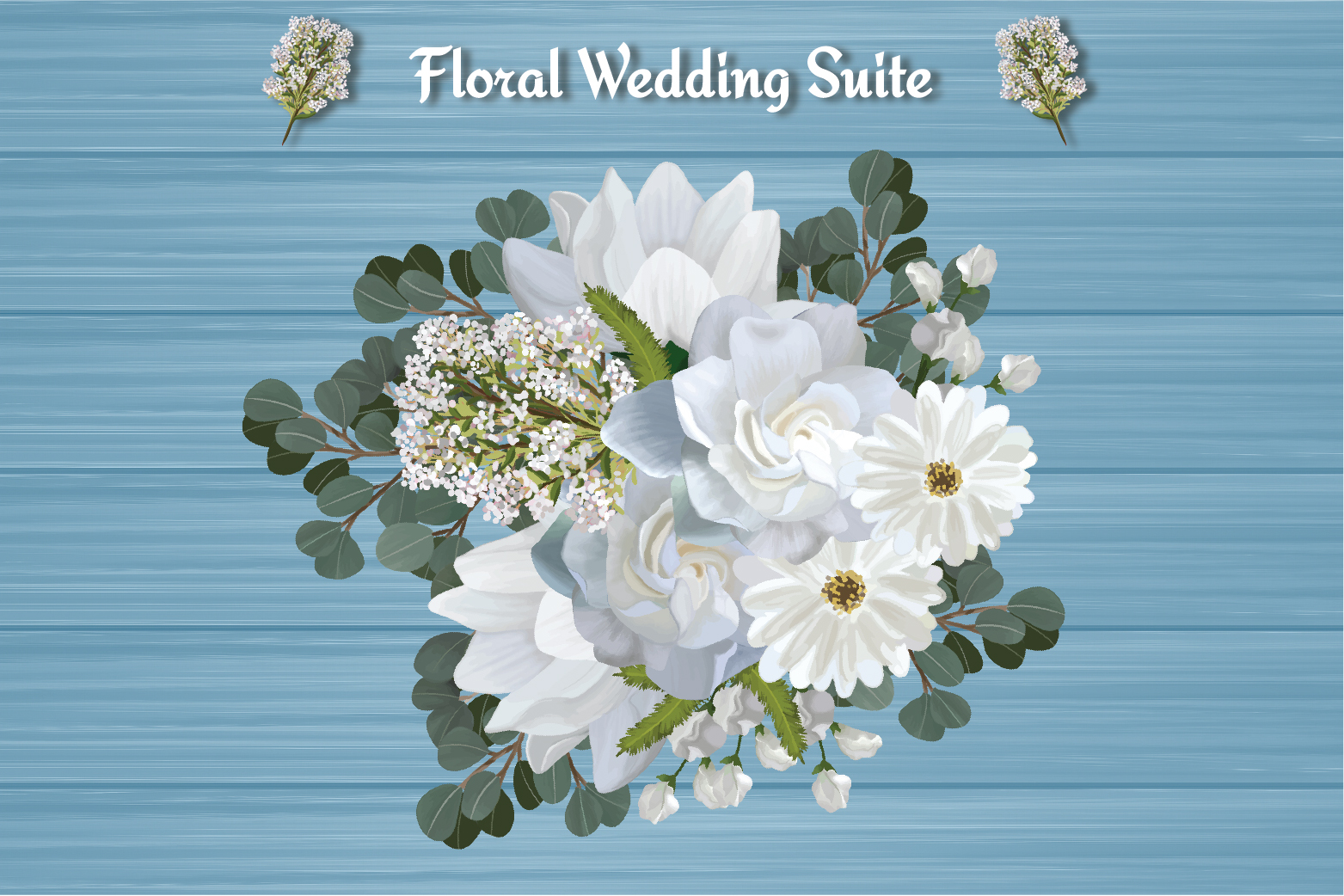 White Floral Wedding Invitation Suite example image 6