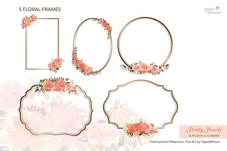 Peach Rose Watercolor Alphabet Set example image 5