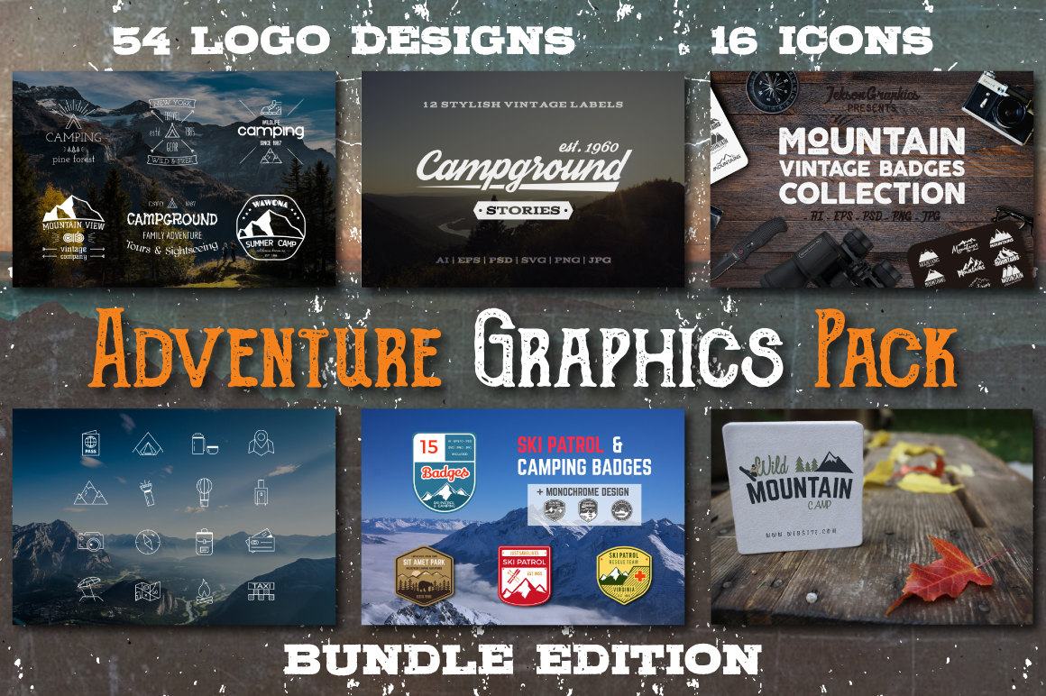 70% OFF Adventure Graphics Pack / Retro Logos Set / SVG's Collection / Icons example image 1