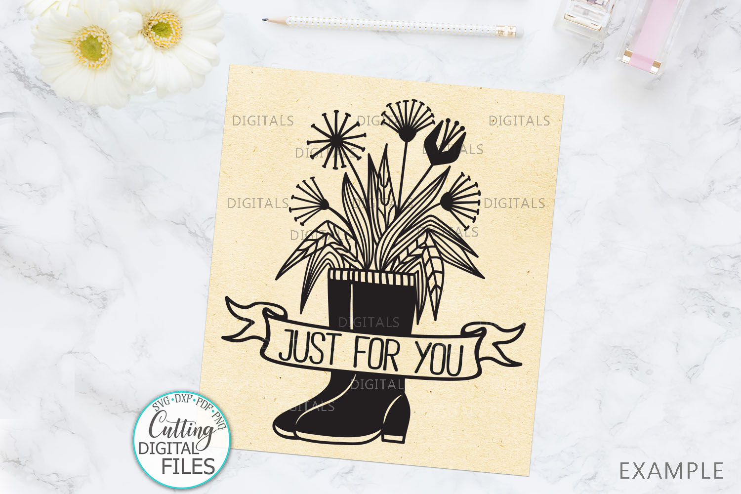 Flowers Wellies Rain boots monogram svg dxf laser paper cut example image 3