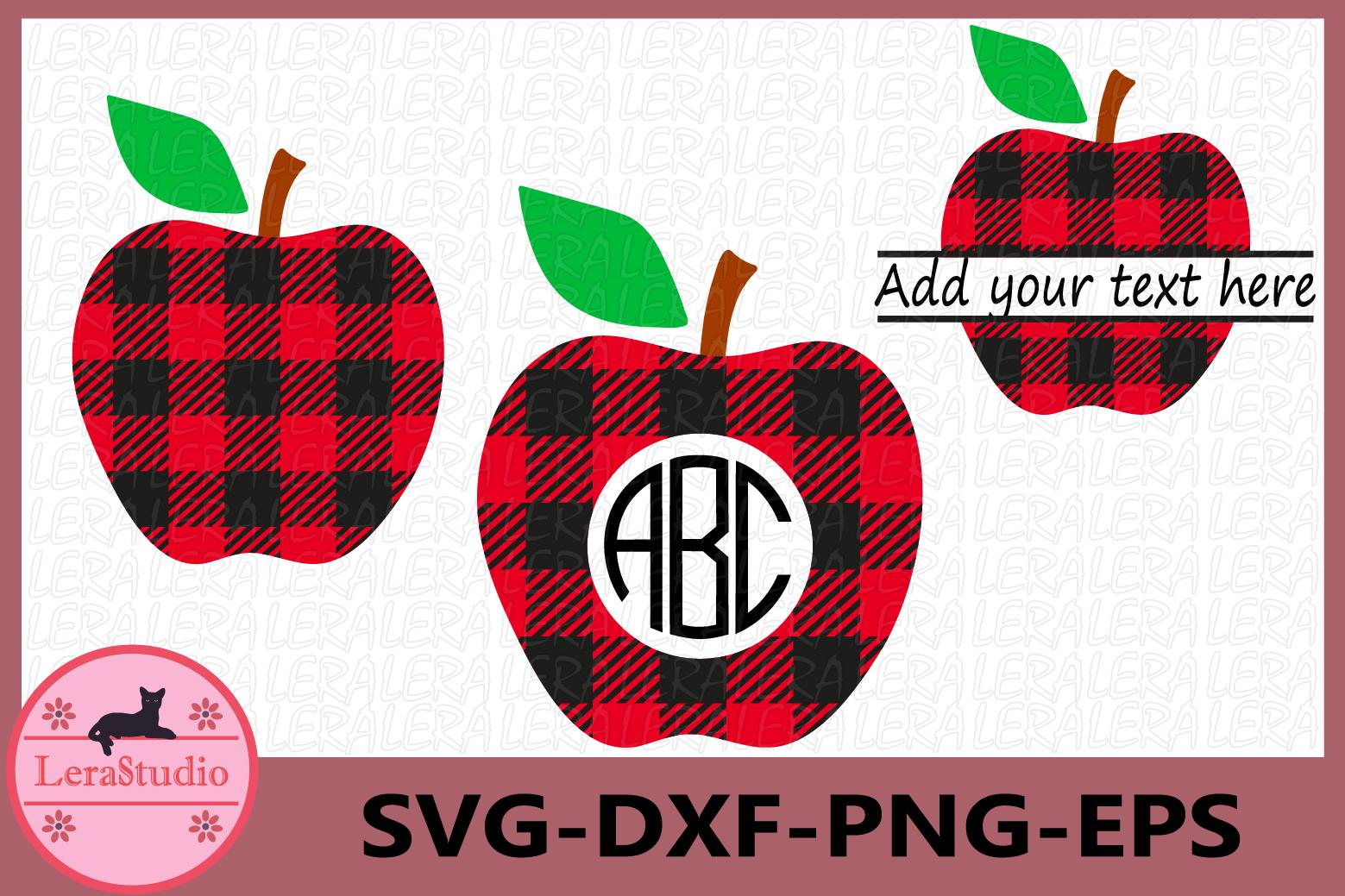 Apple Buffalo Plaid Svg, Monogram Apple SVG, Apple Plaid example image 1
