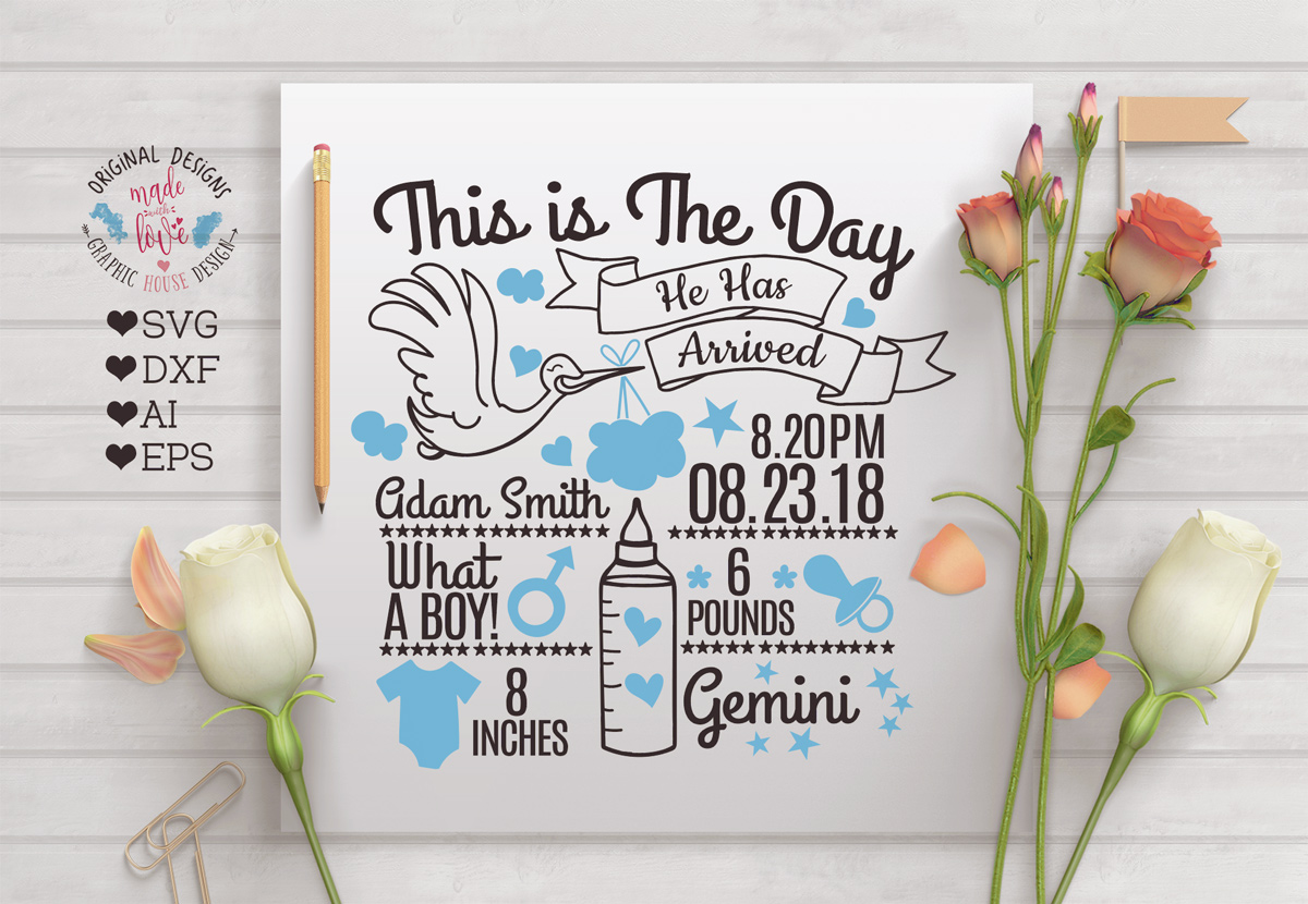 Baby Boy Birth Announcement - Chart in SVG, DXF, EPS, AI ...
