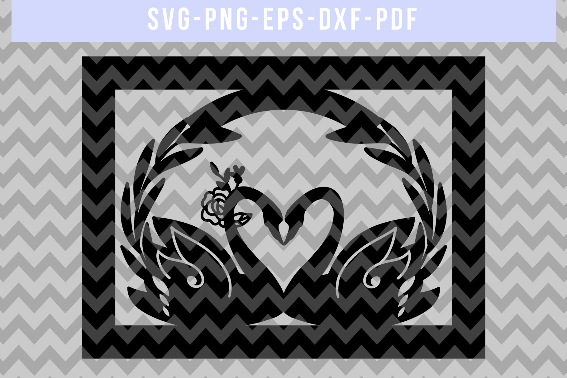 Wedding Swan Frame Papercut Template, Couple SVG, DXF, PDF example image 4