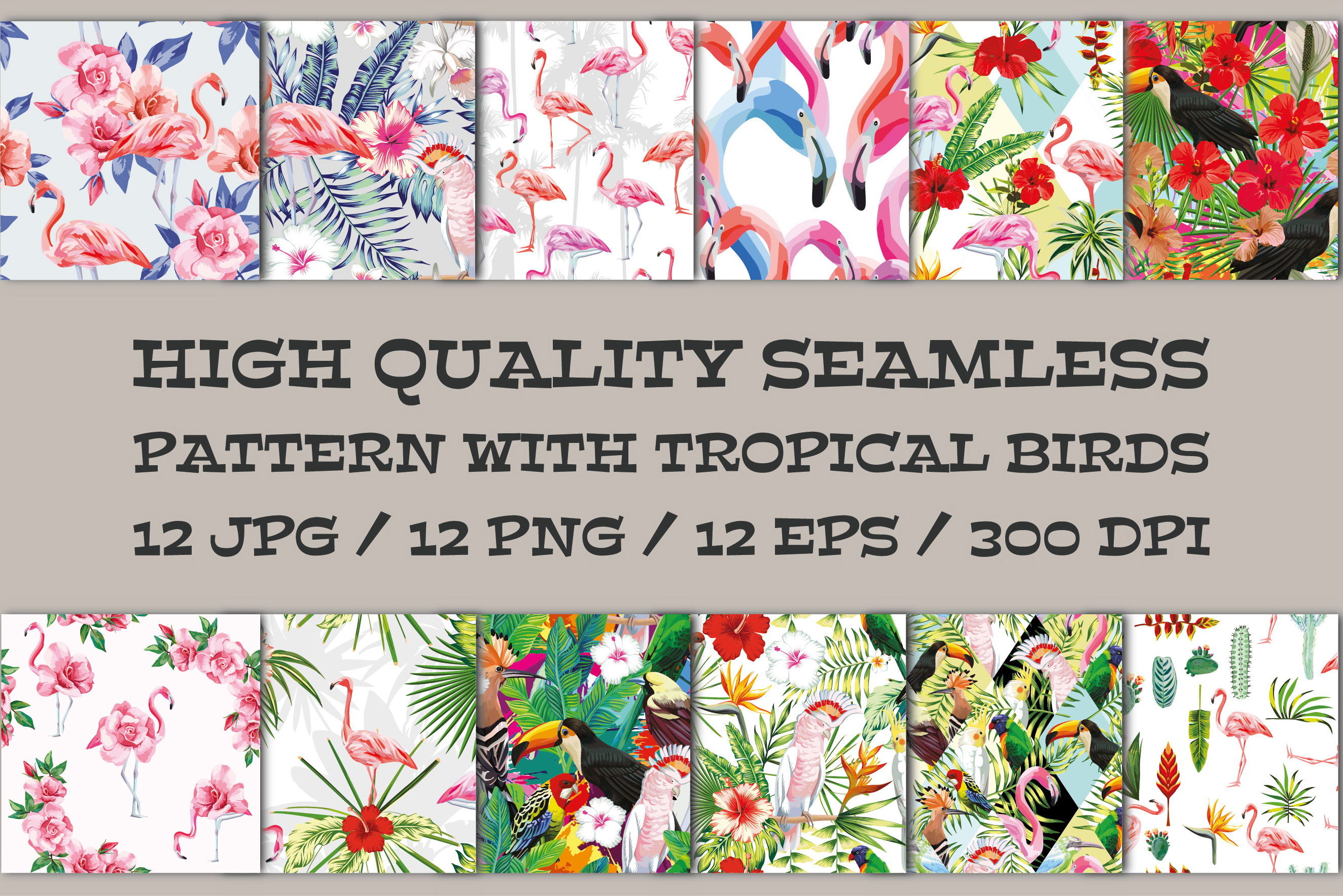 Seamless vector pattern with tropical birds, flowers, leaves example image 1