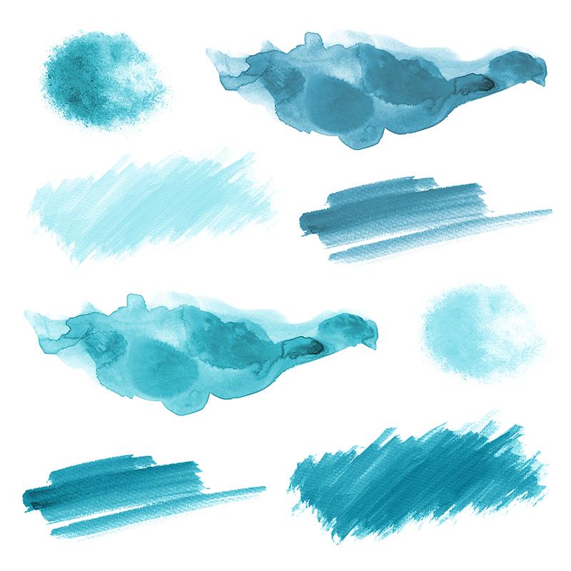 16 Blue Watercolor Design Elements example image 3