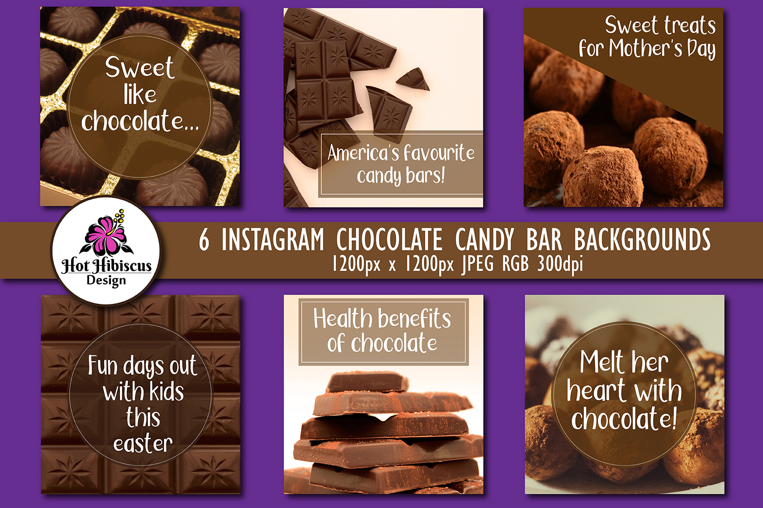Chocolate Candy Bar Instagram and Facebook Food Backgrounds example image 1