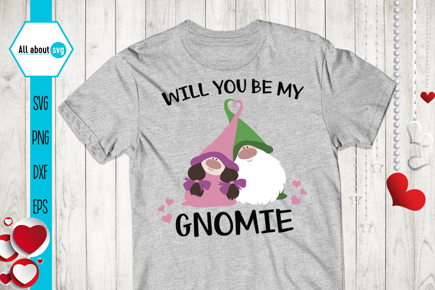 Will You Be My Gnomie Svg, Valentine's Gnomies Svg example image 1