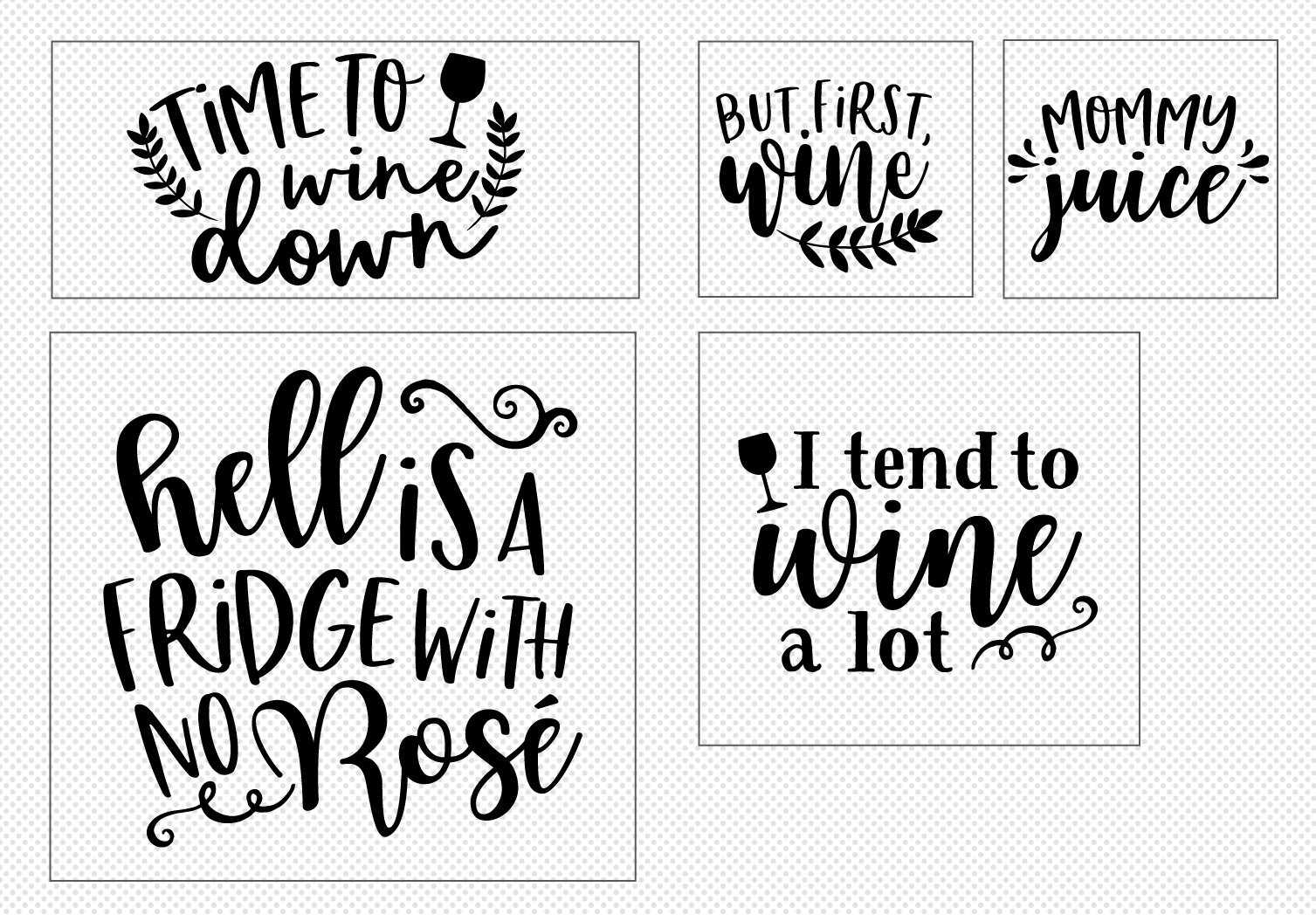 Wine Lover's Quote SVG Cut File Bundle example image 2