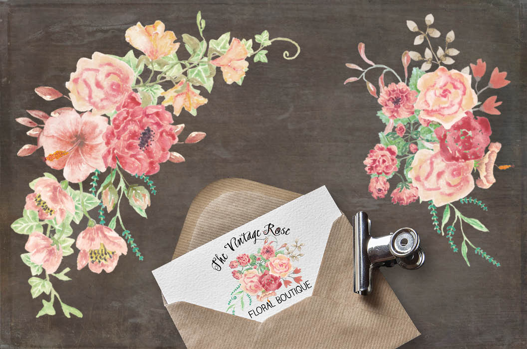 Watercolor sprays of vintage roses example image 3