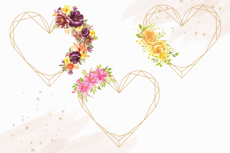 Heart Shaped Watercolor Flowers Frames, Geometric Gold Frame example image 5