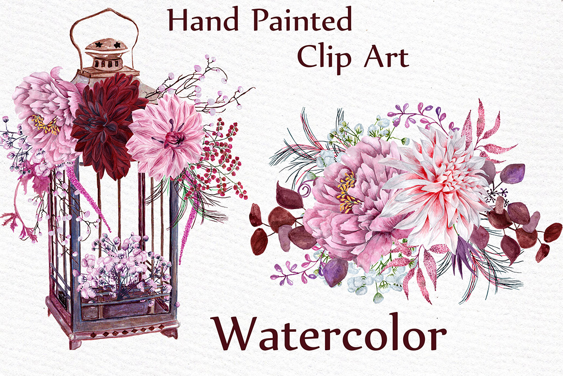 Watercolor wedding clipart example image 2