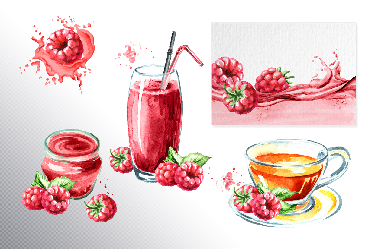 Raspberry. Watercolor collection example image 4