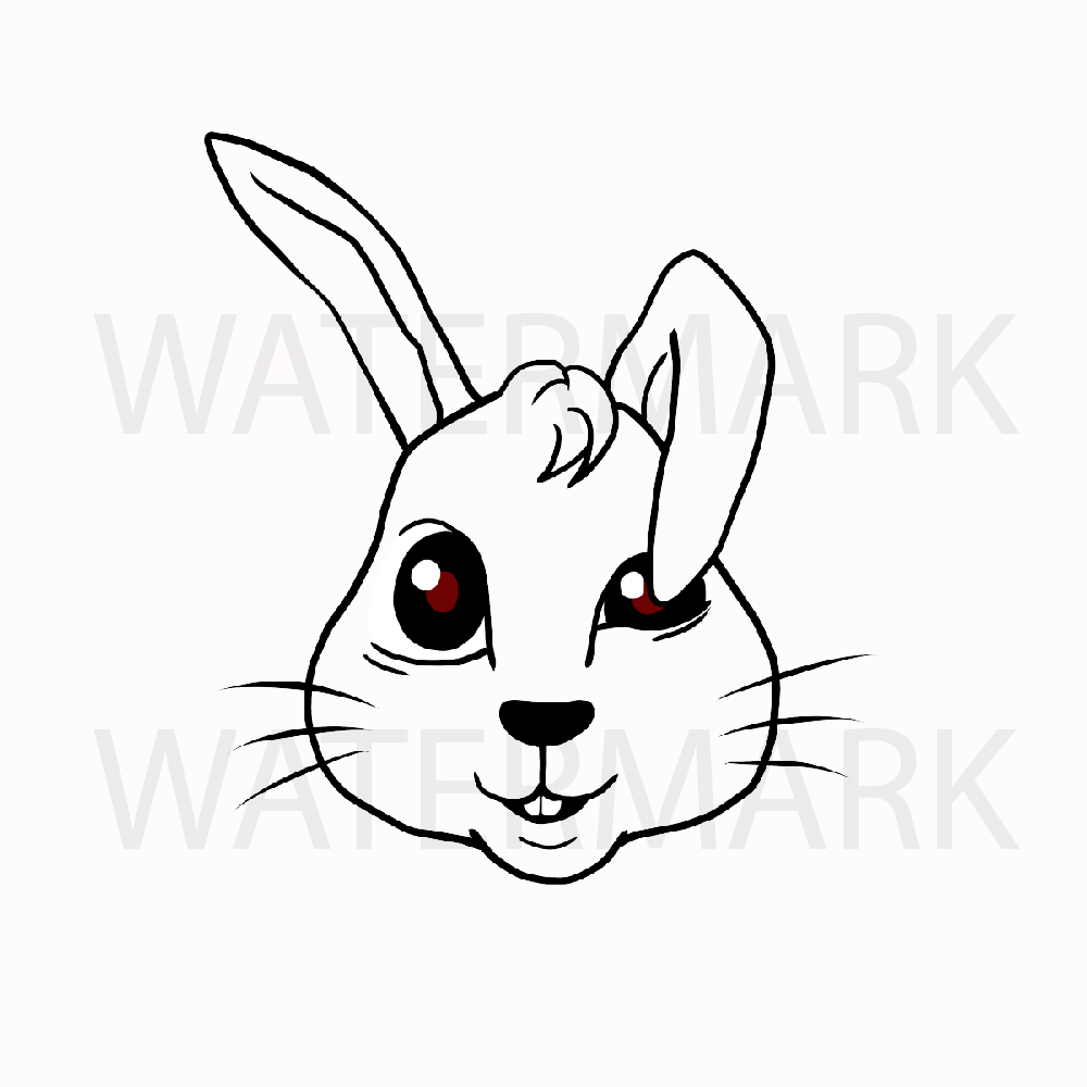 Bunny Rabbit Head so Cute! Type B - SVG/JPG/PNG Hand Drawing example image 2