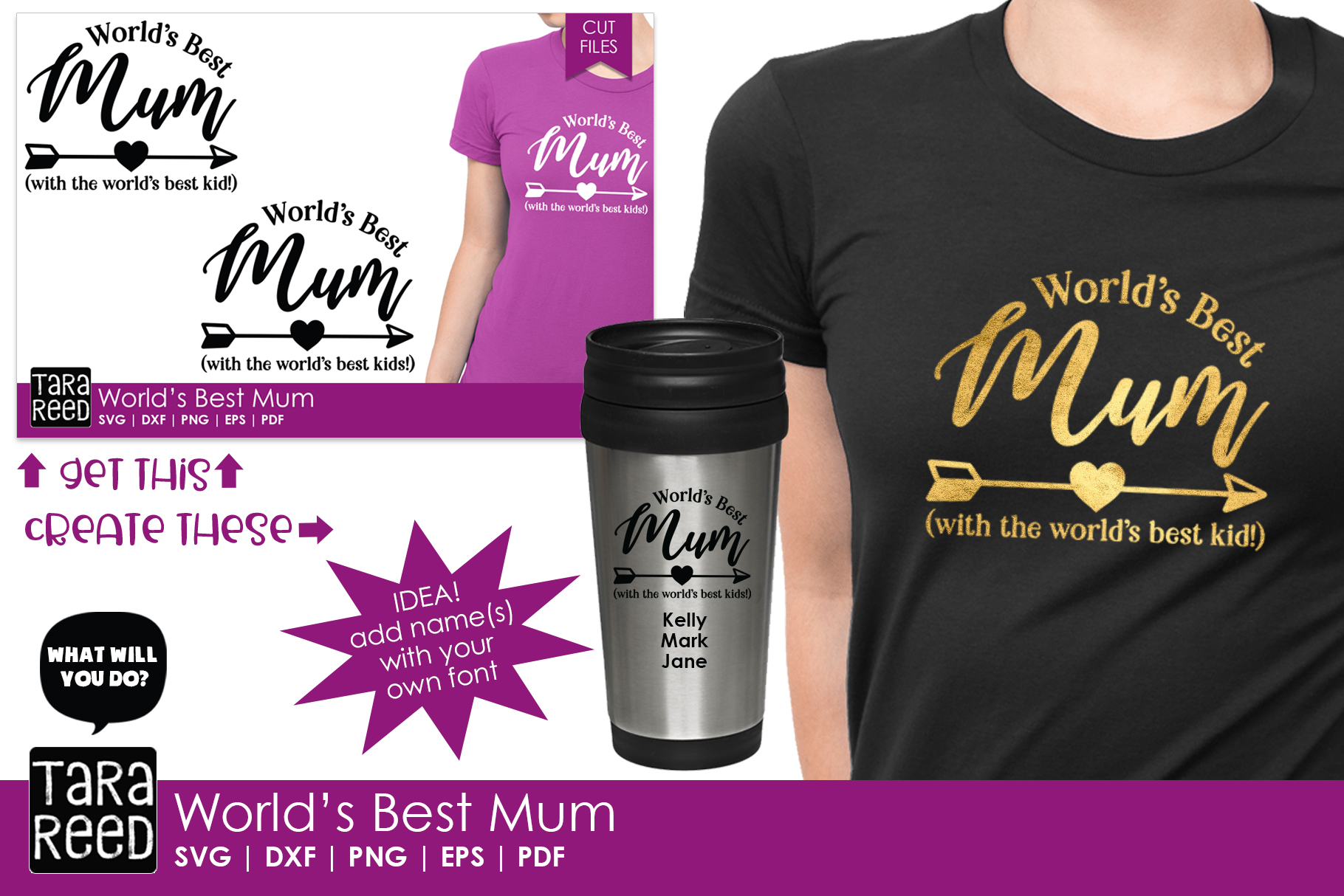 Worlds Best Mum - Family SVG and Cut Files for Crafters example image 2