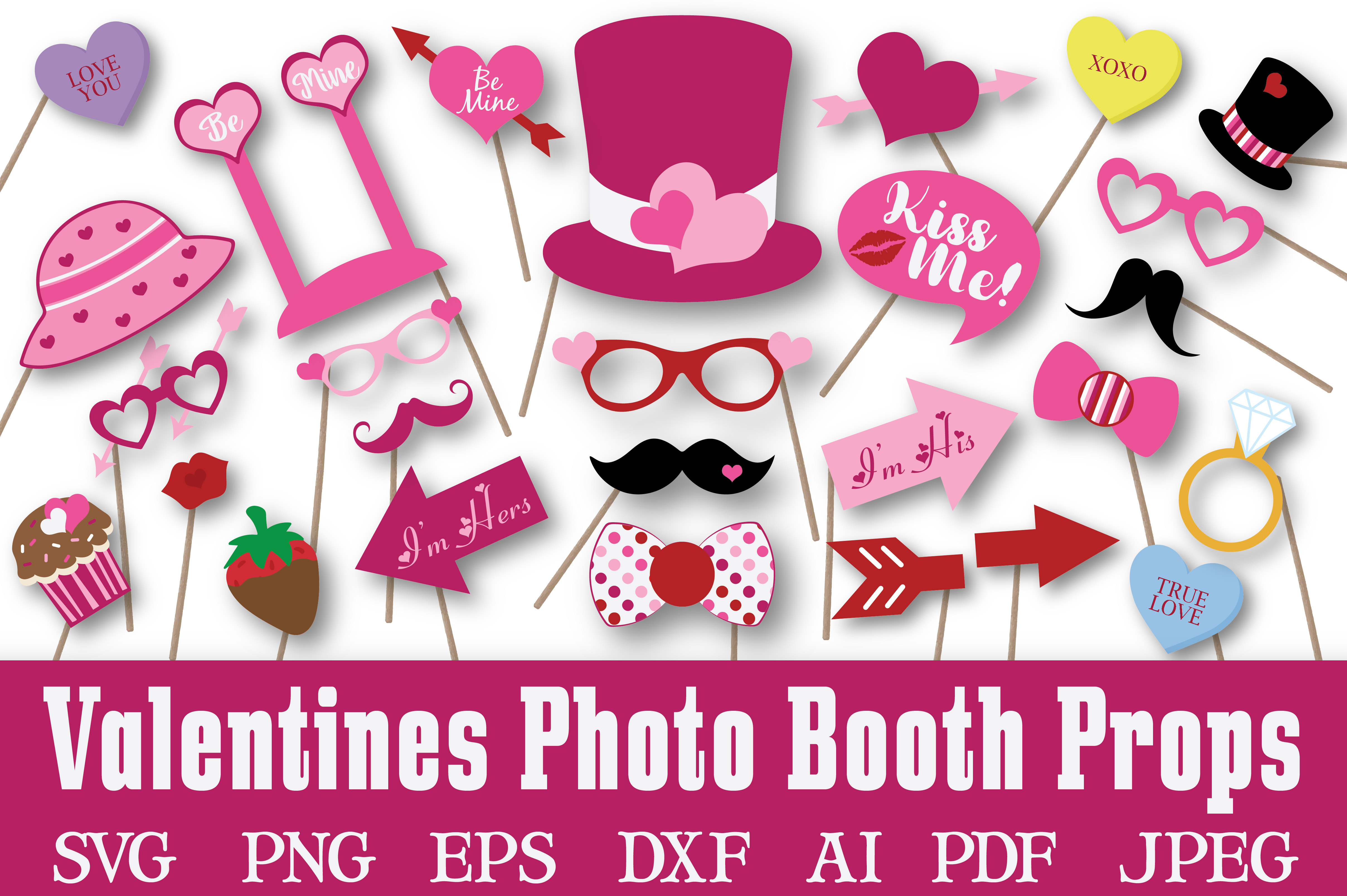 Valentines Day Photo Booth Props - SVG Cut File - DXF - EPS example image 1