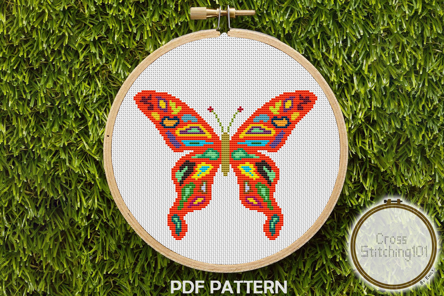 Colorful Butterfly Cross Stitch Pattern - Instant Download example image 1