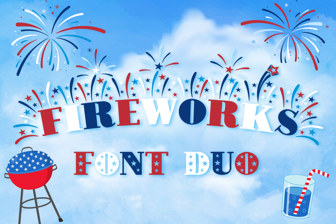 Fireworks Independence Day / 4th of July Font Family & Bonus example image 1