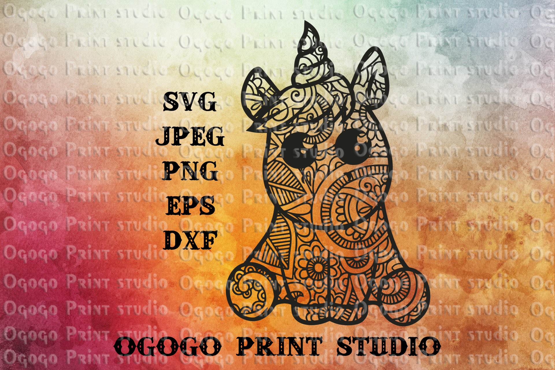Unicorn SVG, Zentangle SVG, Cute animal svg, Mandala svg example image 1
