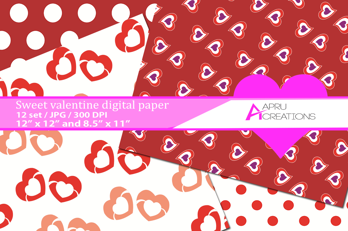 valentine day pattern, valentine day digital papers,  valentine heart pattern, digital papers, hearts 300 dpi, 12 x 12 inch , and 8.5 x 11 inch example image 2