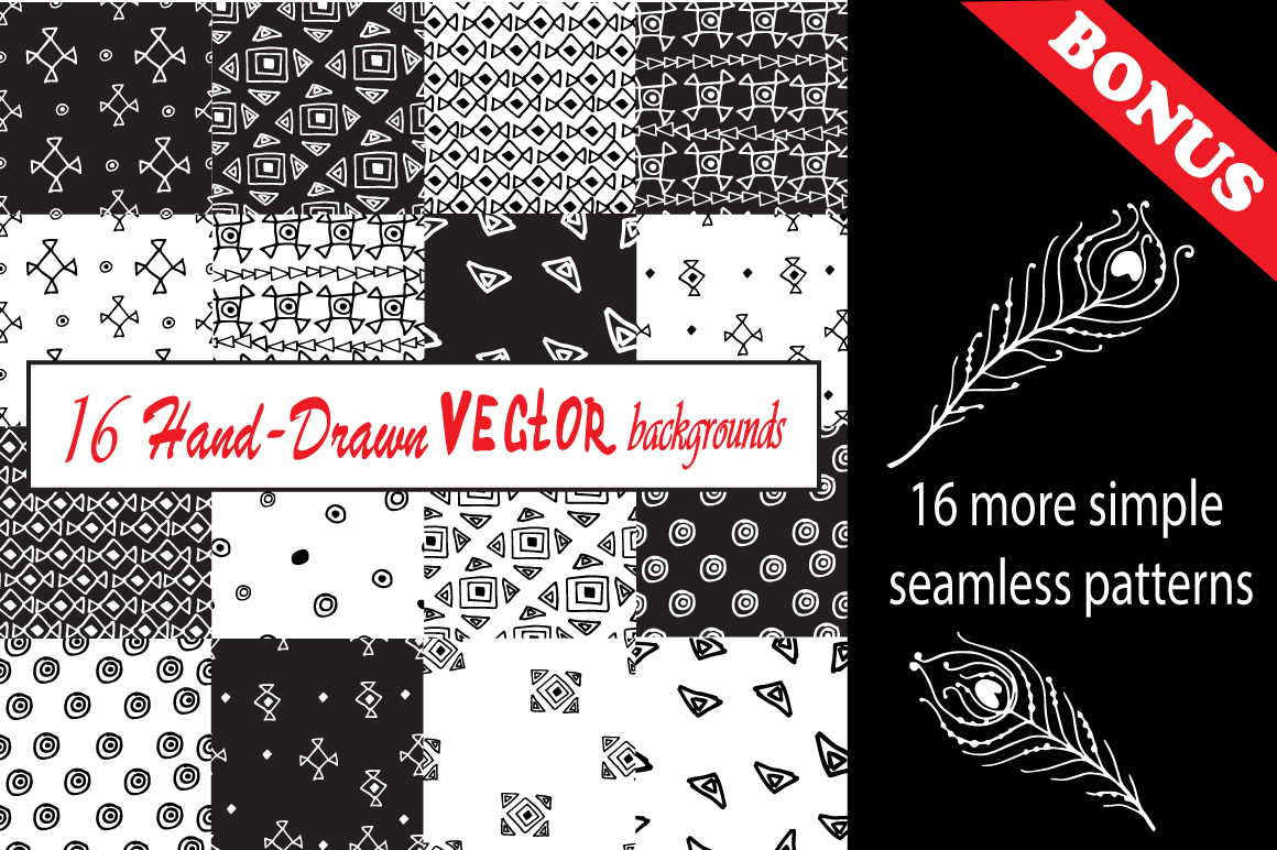 Hand-Drawn Ethnic Seamless Patterns example image 3