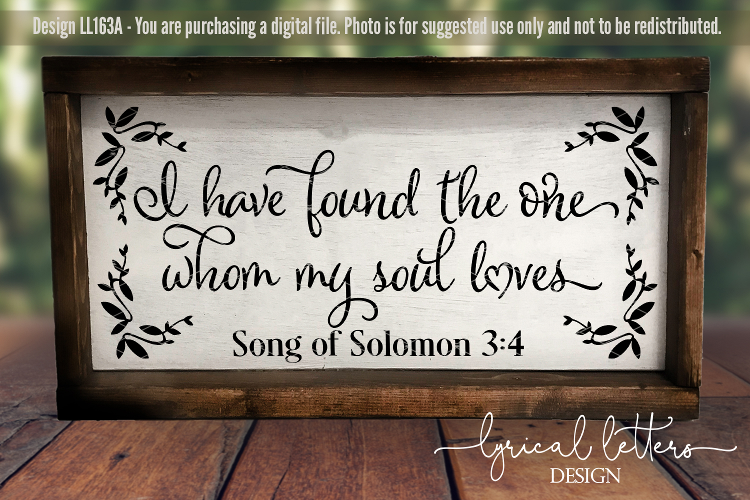I Have Found the One Whom My Soul Loves SVG DXF LL163A example image 3