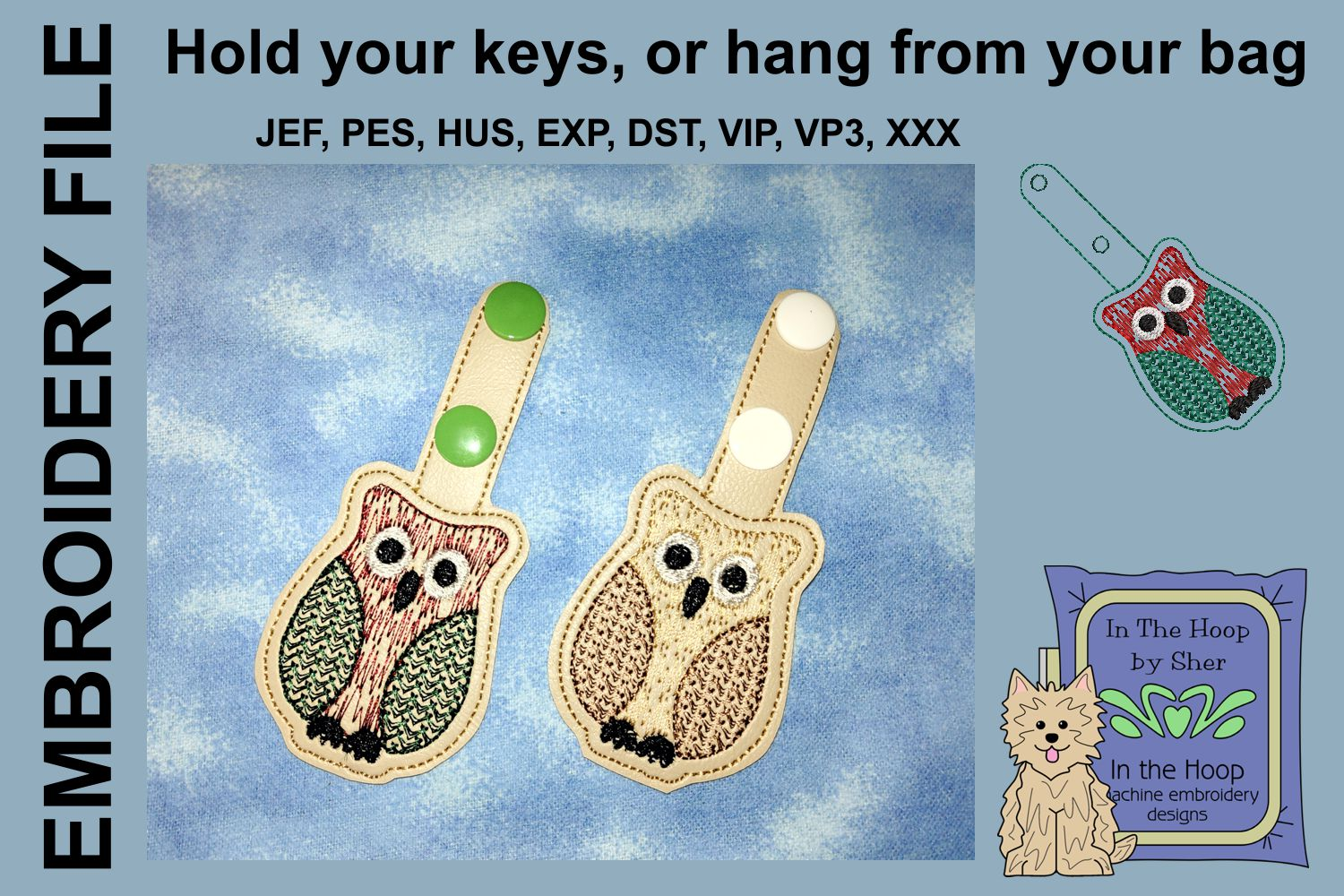 ITH Owl Cookie Vinyl Key Fob or Bag Tag - Snap example image 2