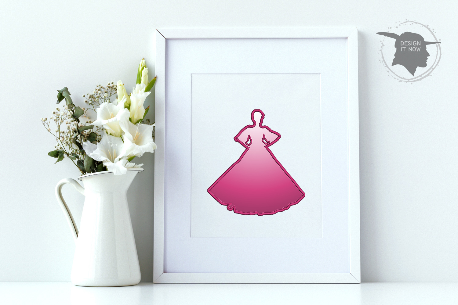 Princess Applique Embroidery Design, Crown Embroidery Art example image 2