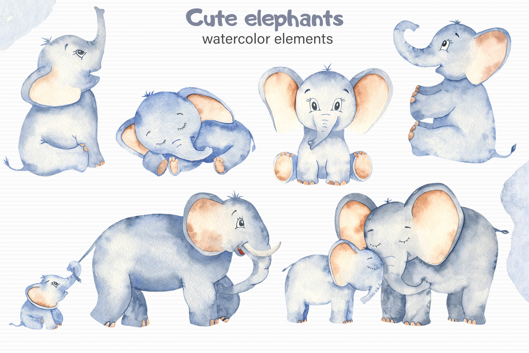 Cute elephants watercolor collection clipart example image 10