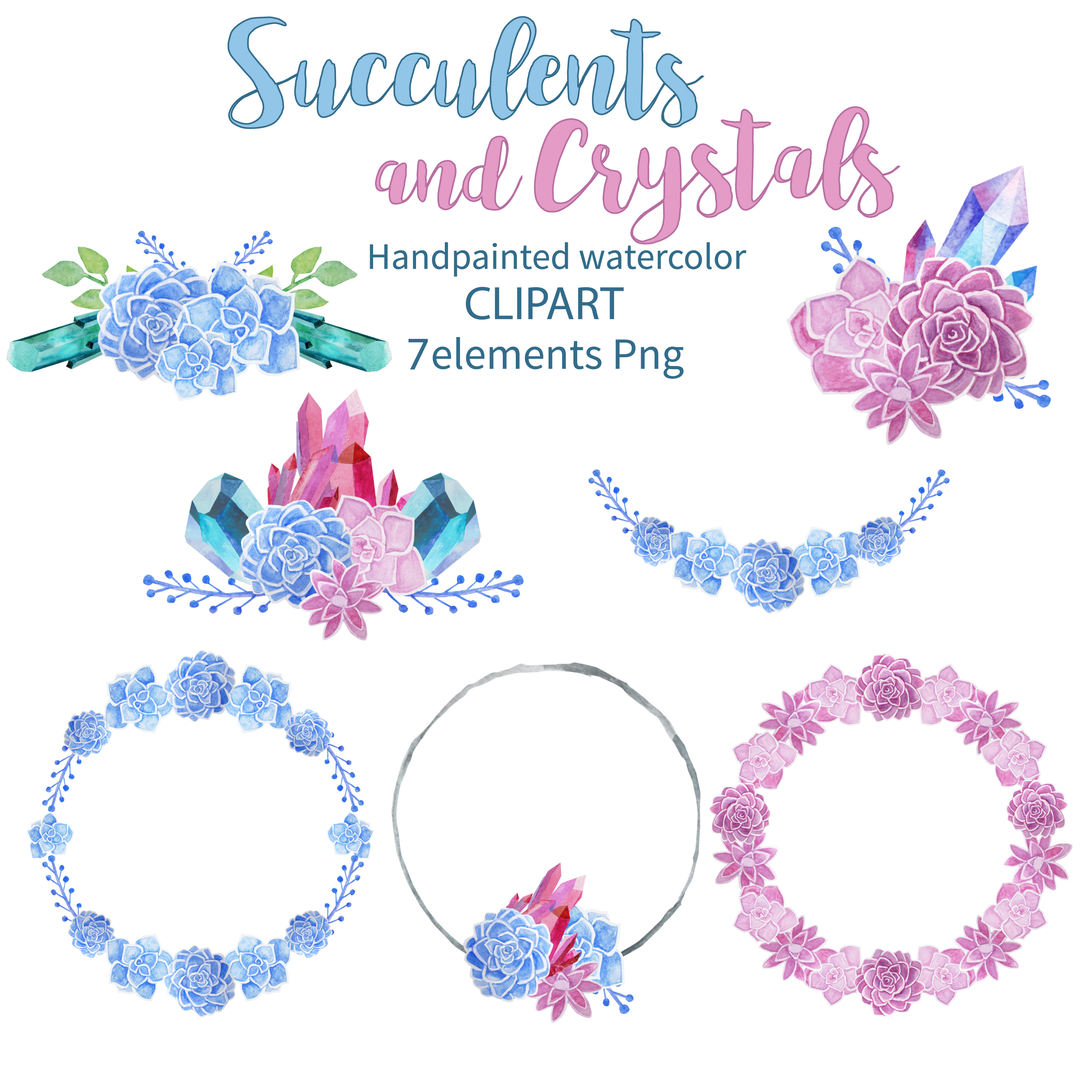 Succulents and Crystals Watercolor example image 2