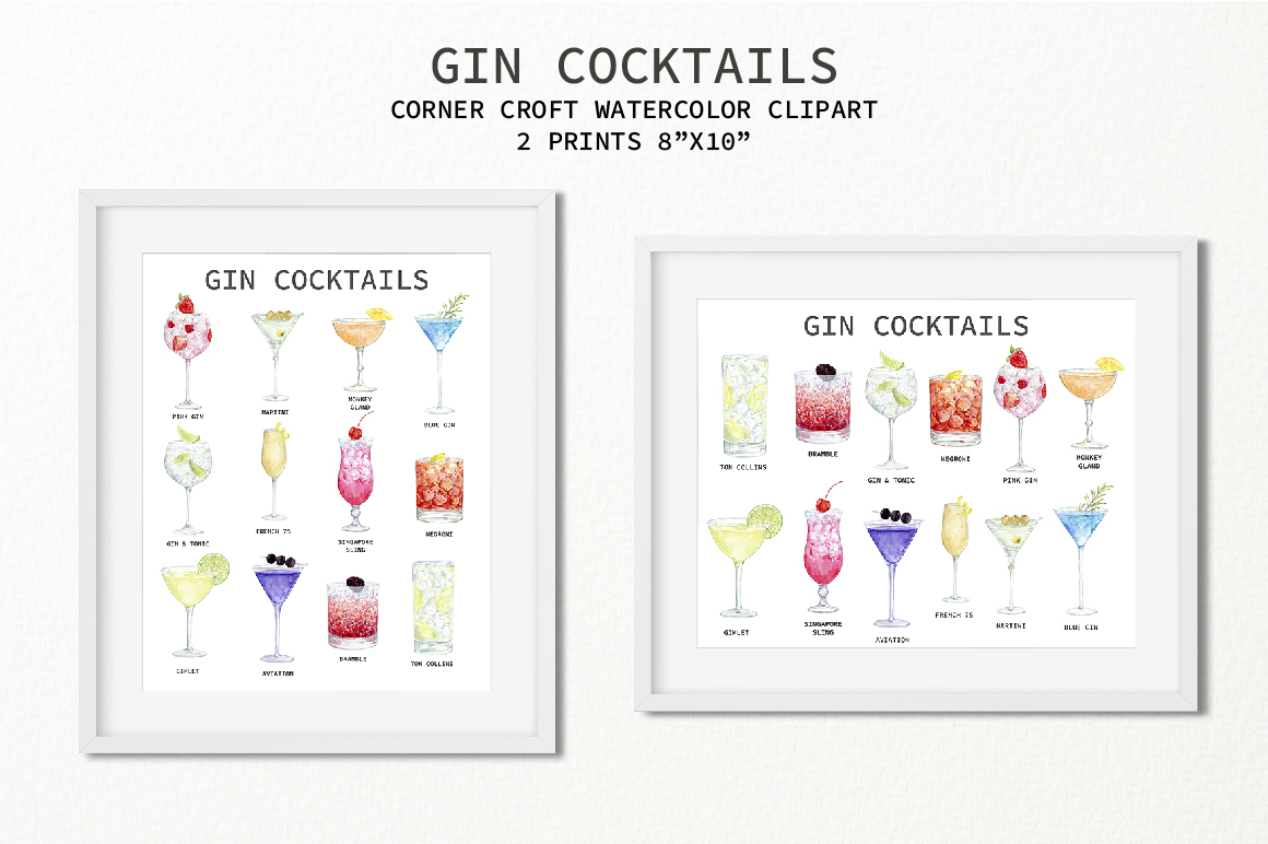 Watercolor Gin Cocktail Illustration and Prints example image 3