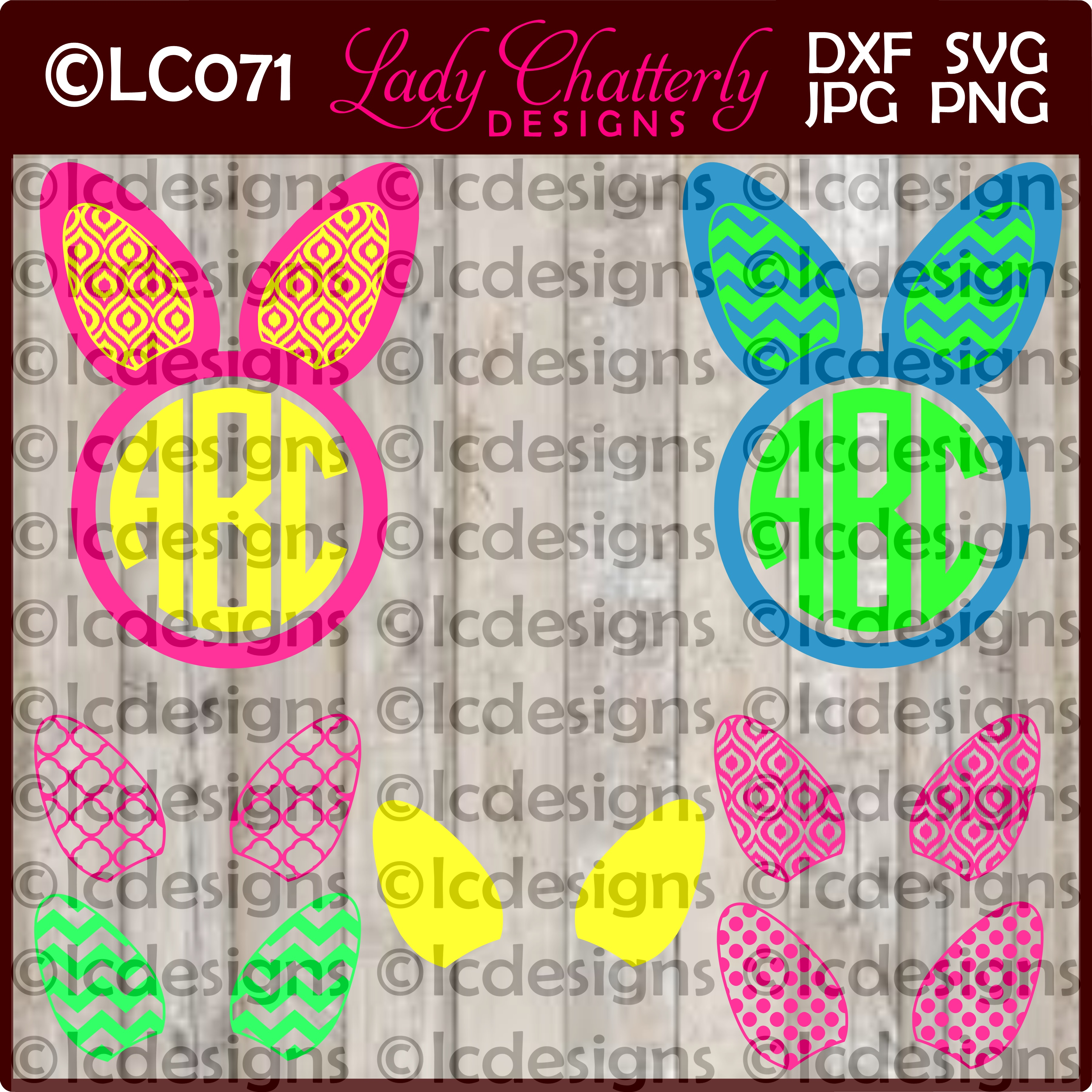 LC071 Bunny Ears and Monograms example image 1