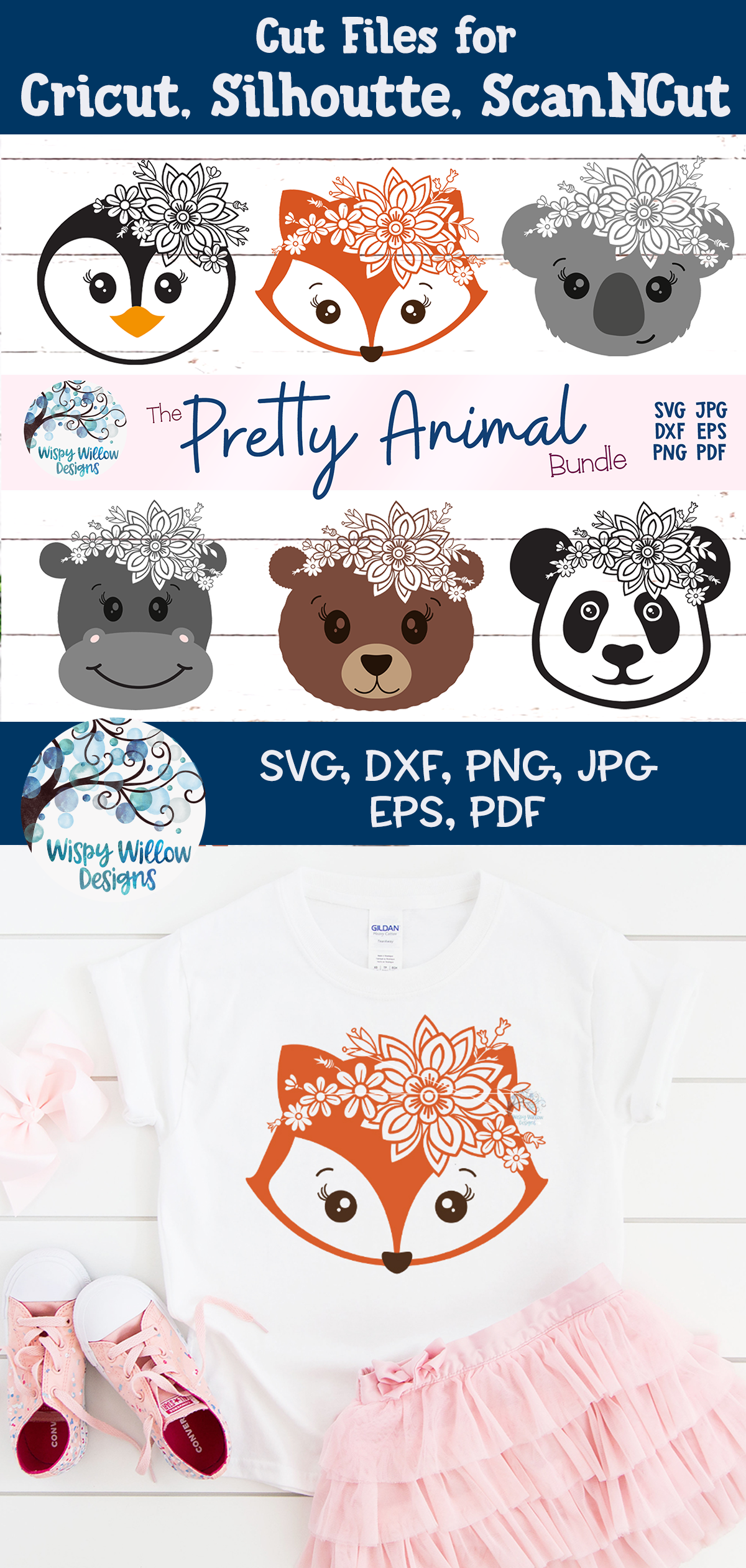 Pretty Animal SVG Bundle | Floral Animal Faces SVG Cut Files example image 16