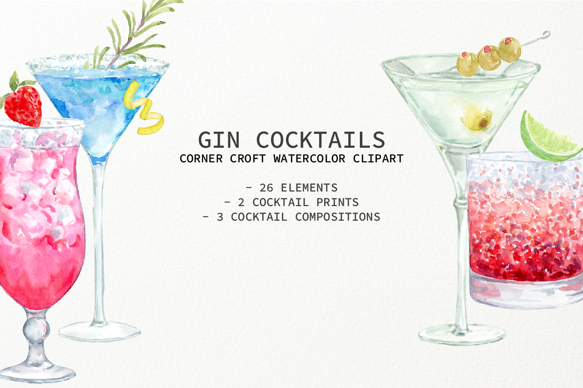 Watercolor Gin Cocktail Illustration and Prints example image 7