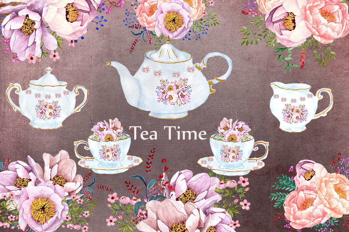 Tea time watercolor floral clipart example image 1