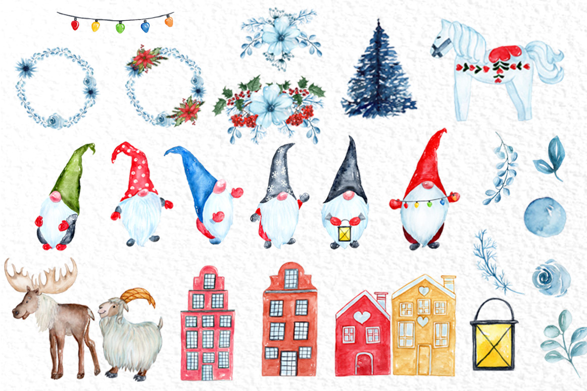Watercolor Scandinavian Gnome, Christmas clipart example image 2