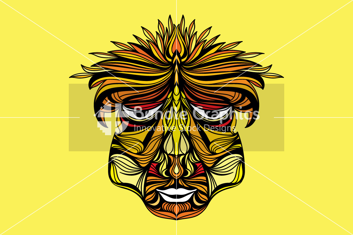 Tribal Human Face - Illustrative Design Composition example image 1