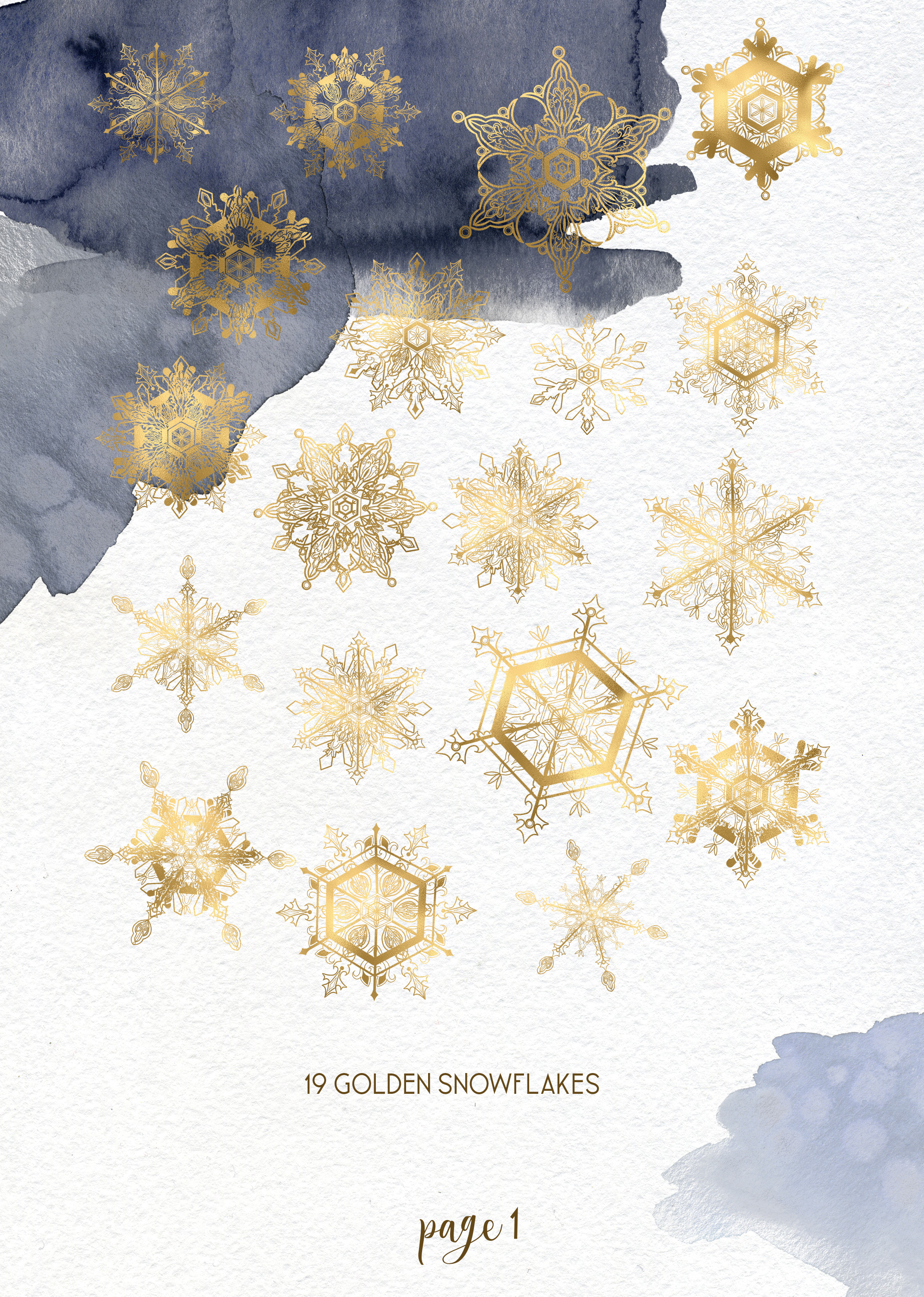Winter snowflakes clipart set with watercolor splashes example image 2