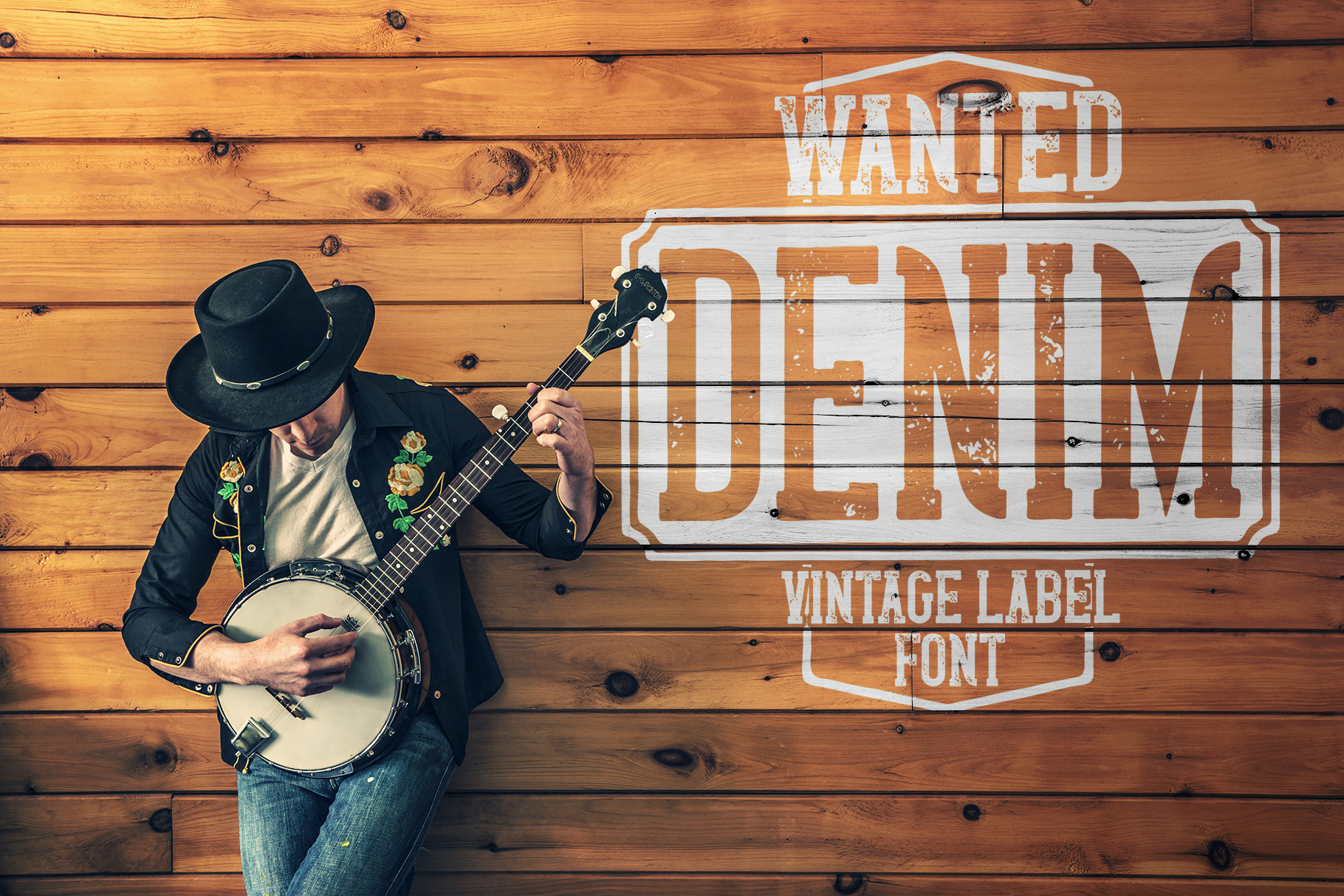 Wanted Denim layered font example image 5
