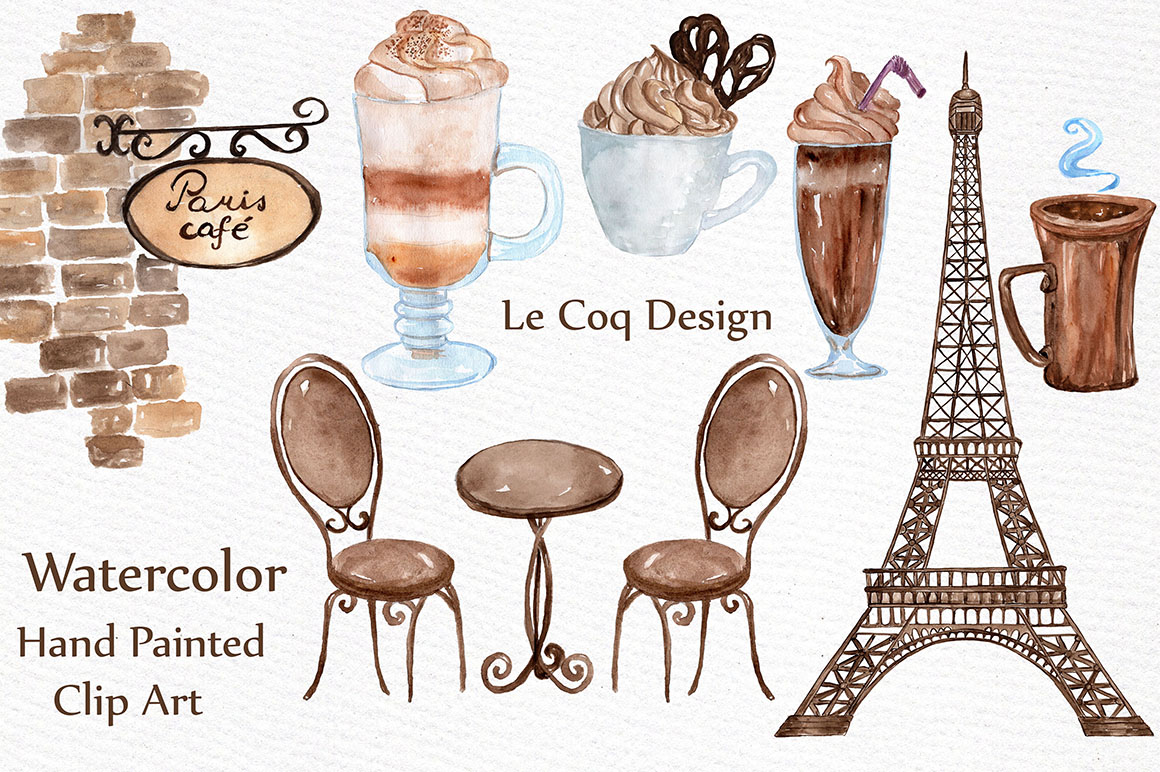 Watercolor Paris cafe clipart example image 2